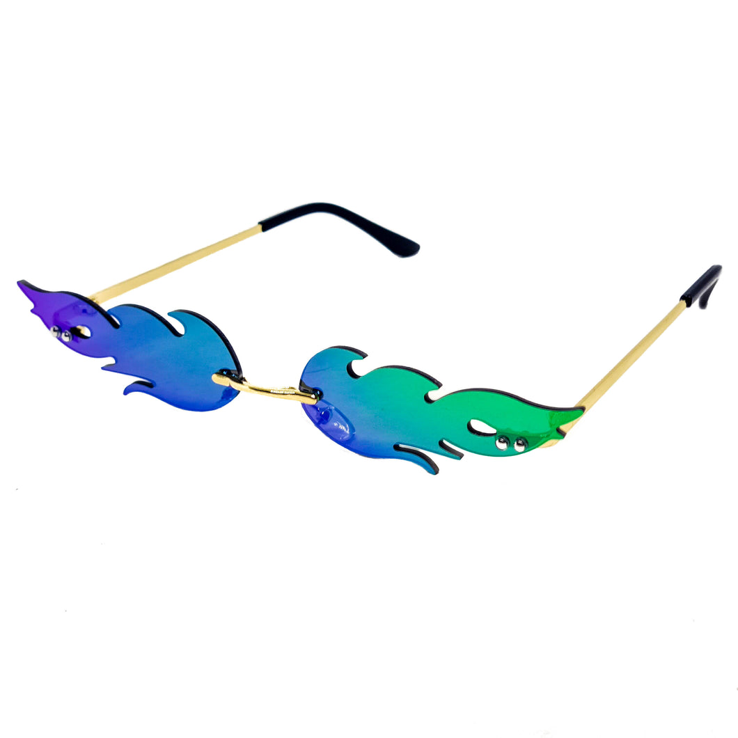 Festival Flame Sunglasses Green & Purple