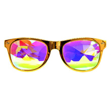 Load image into Gallery viewer, Gold Wayfarer Kaleidoscope Glasses