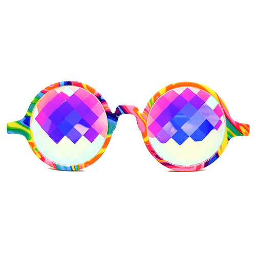 Tie-Dye Bug-Eye Kaleidoscope Glasses