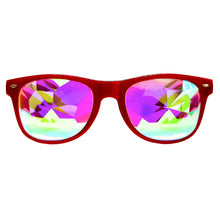 Load image into Gallery viewer, Red Wayfarer Kaleidoscope Glasses