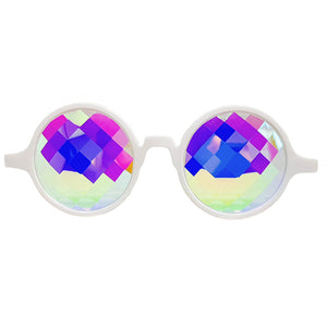 White Bug-Eye Kaleidoscope Glasses