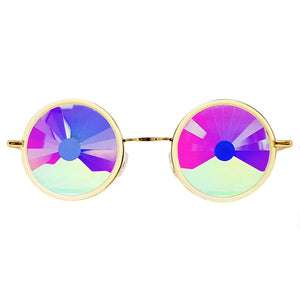 White Metallic Wormhole Kaleidoscope Glasses