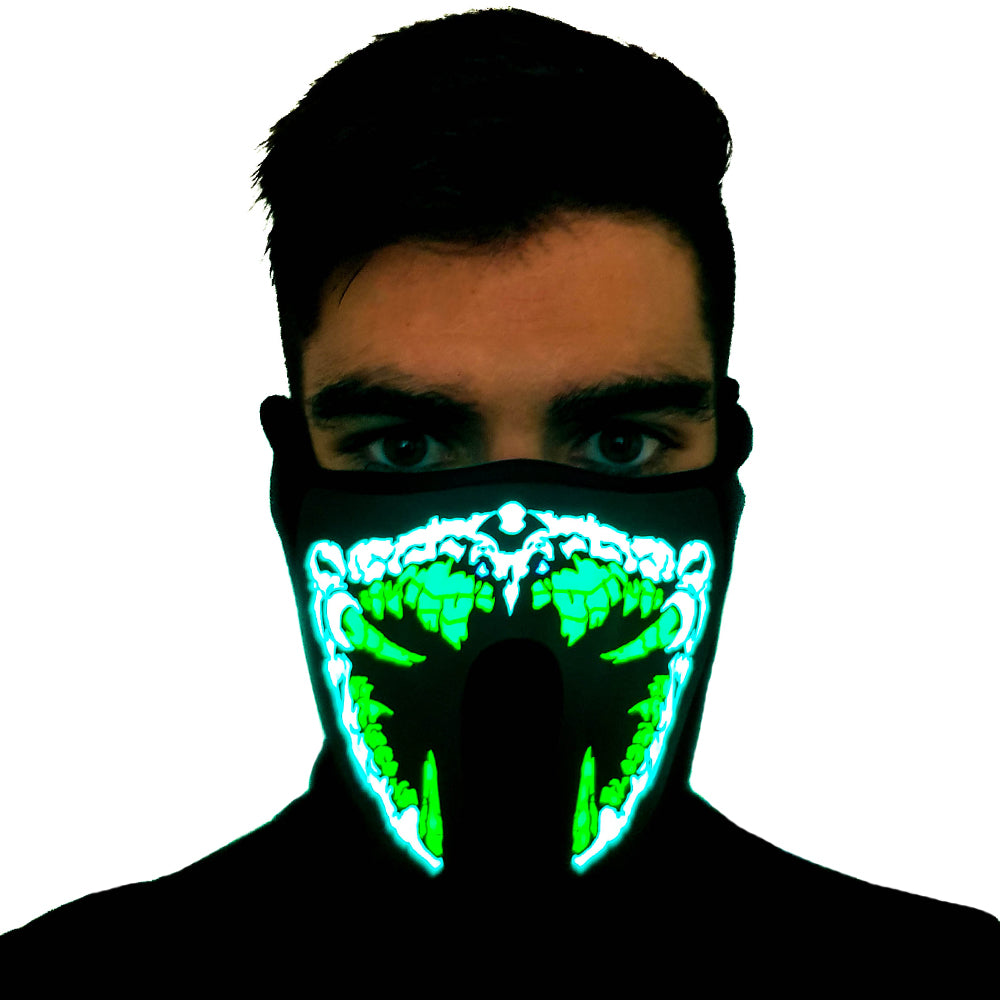 Green Predator LED Sound Activated Mask