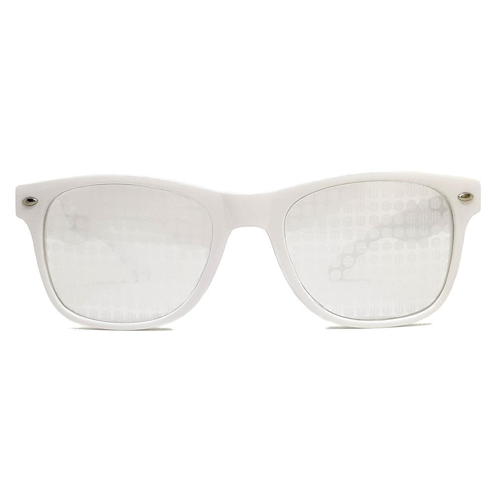 White Wayfarer Spiral Diffraction Glasses