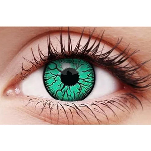 Infected Teal Contact Lenses