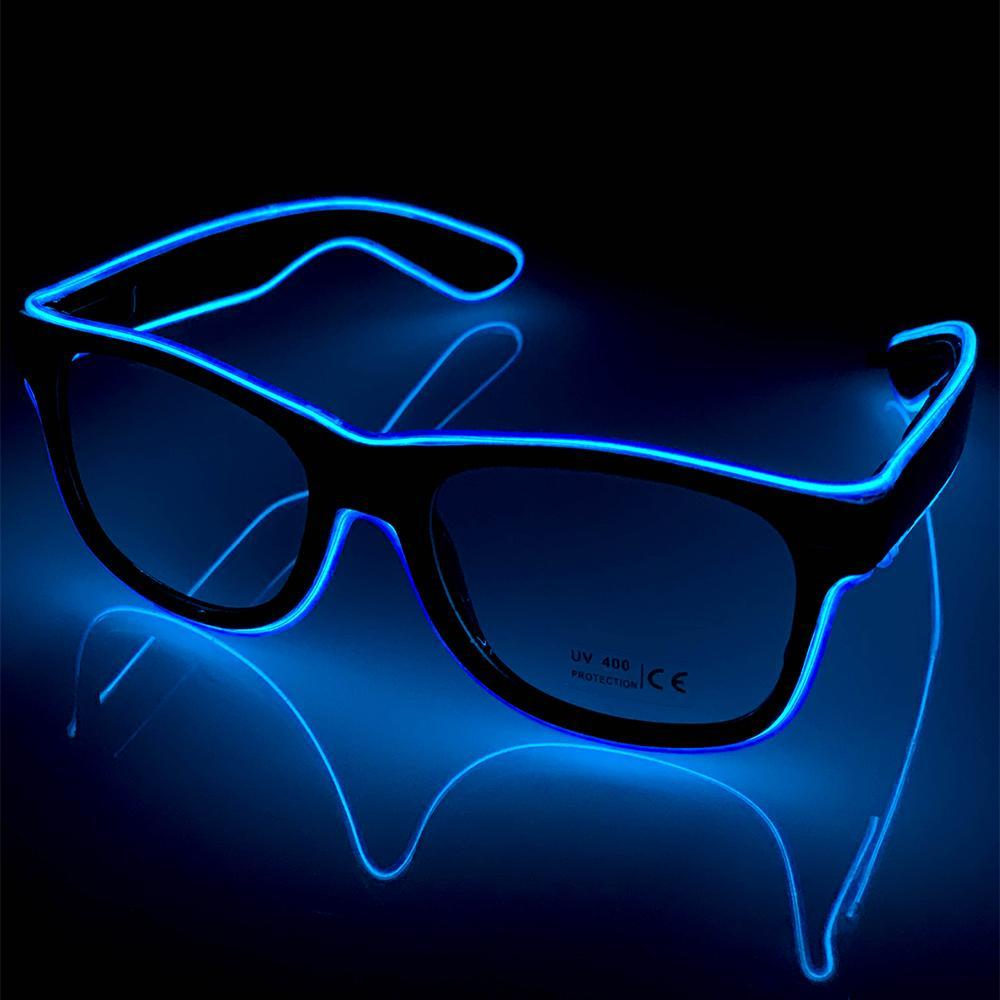 Neon Blue LED Glasses