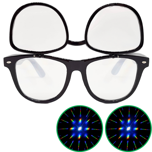 Black Flip Up Diffraction Glasses