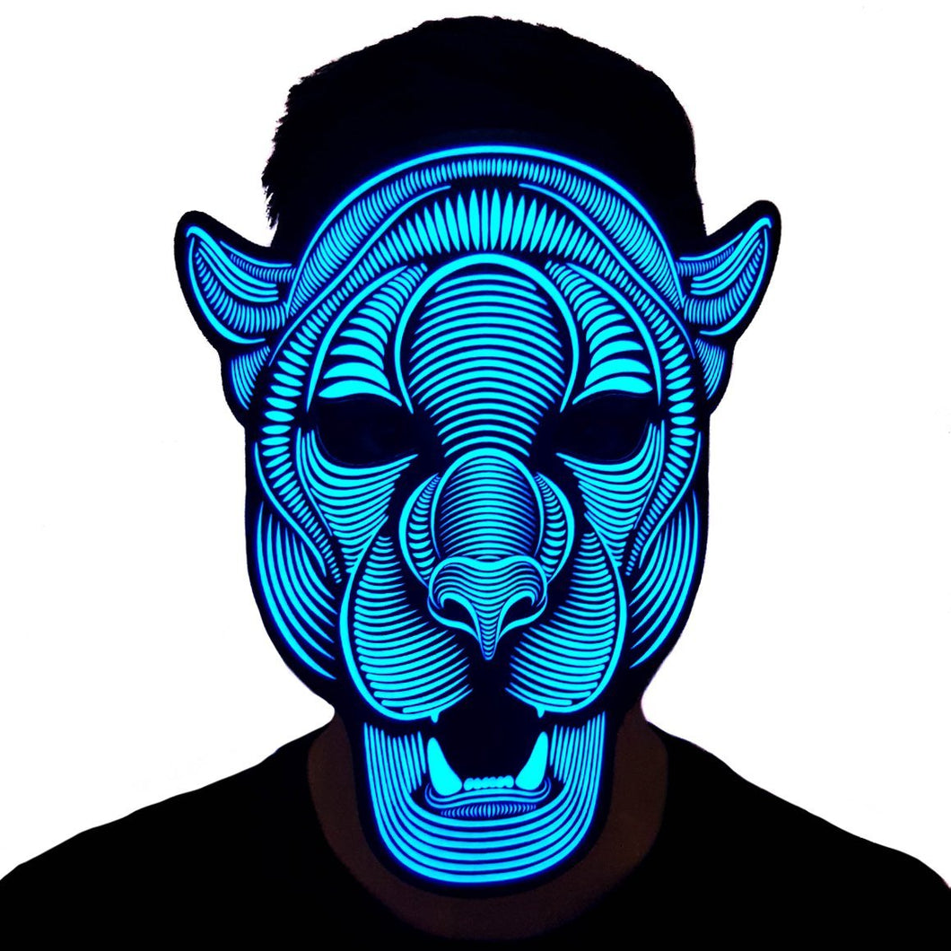 Leopard LED Sound Activated Flat Mask