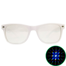 Load image into Gallery viewer, White Wayfarer Diffraction Glasses