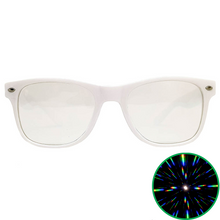 Load image into Gallery viewer, White Wayfarer Ultimate Diffraction Glasses