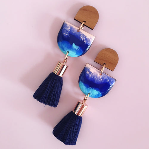 Inked Single Drop Tassel Earrings