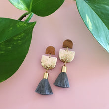 Load image into Gallery viewer, Inked Single Drop Tassel Earrings