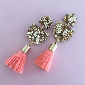 Acrylic Single Drop Tassel Earrings