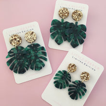 Load image into Gallery viewer, Monstera & Leaf Earrings