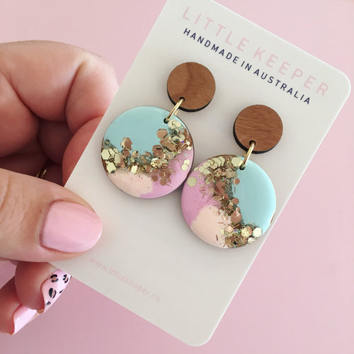 Inked Disk Drop Earrings