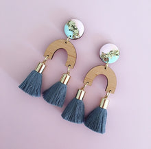 Load image into Gallery viewer, Inked Arch Double Drop Tassel Earrings