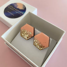 Load image into Gallery viewer, Inked Boxed Hexagon Earrings