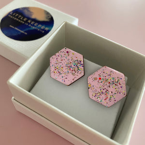 Inked Boxed Hexagon Earrings