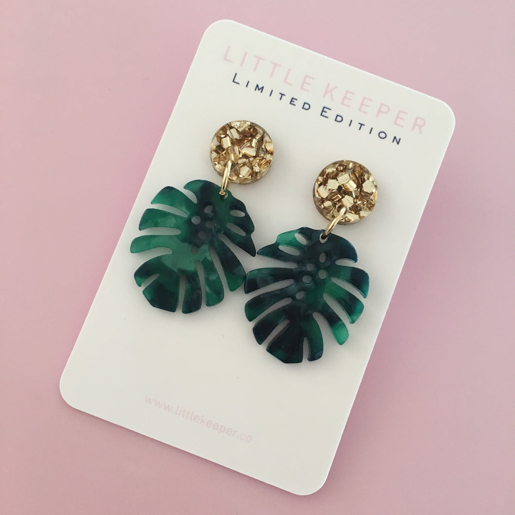 Mini Monstera Earrings