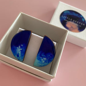 Inked Boxed Semicircle Earrings