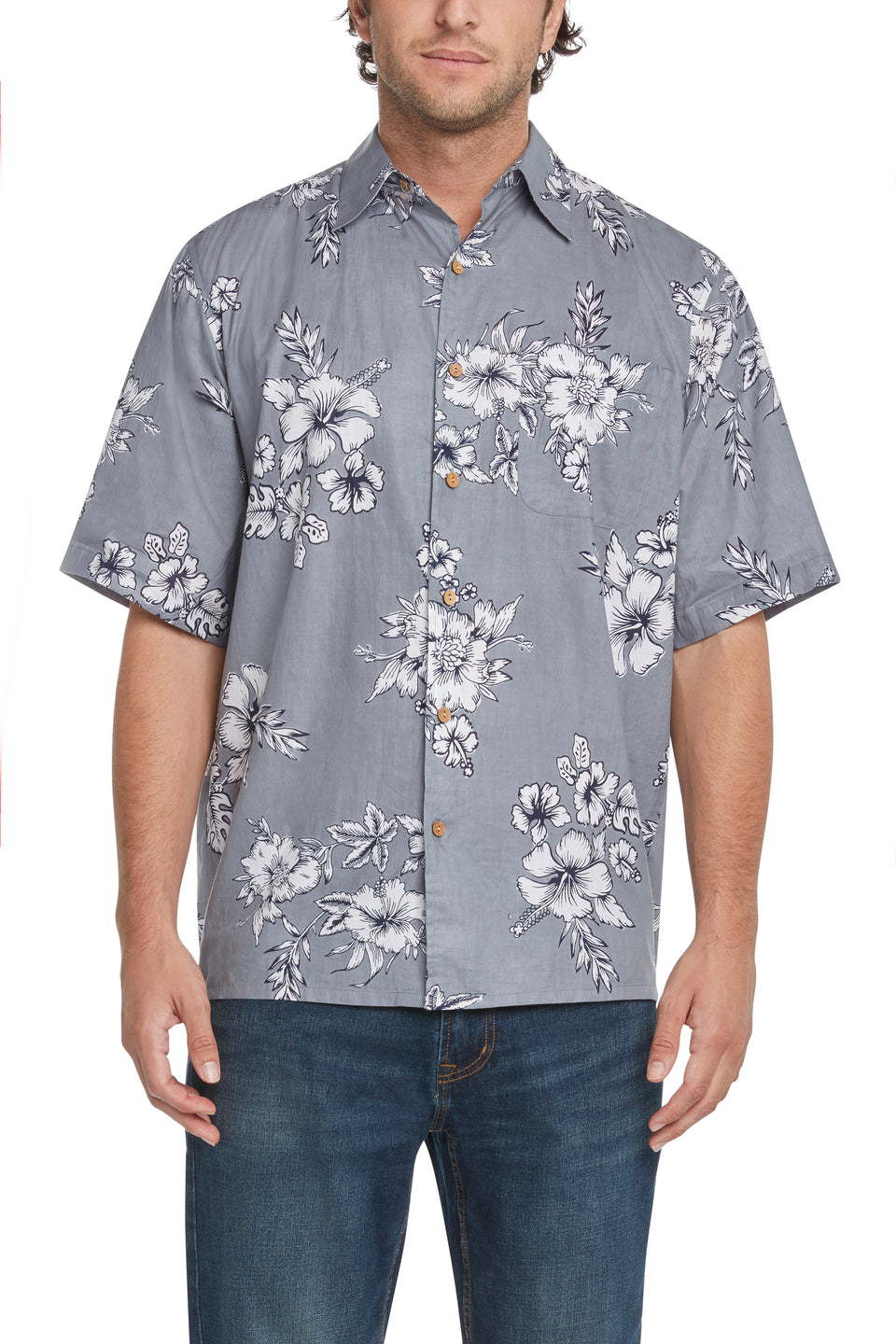 Gray and Navy Hibiscus Sympatiko Shirt