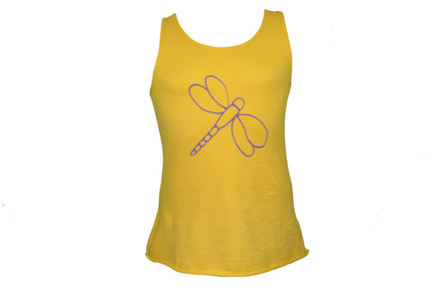 Lilac Dragon-fly Yellow Tank Top