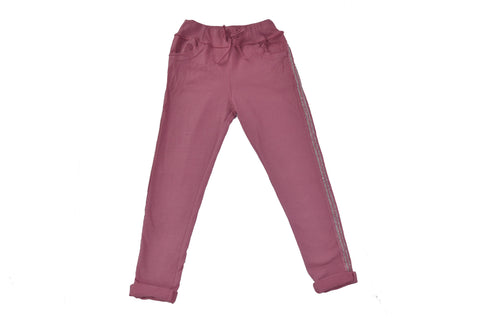 Pantalón largo color rosa chicle con rayas brillantes laterales