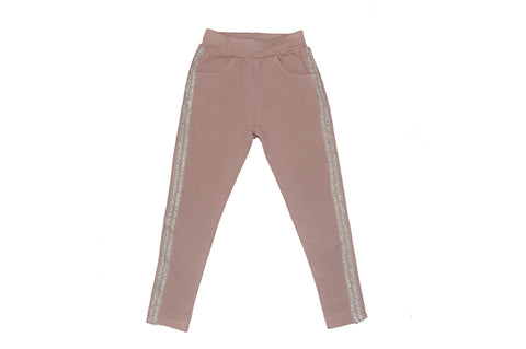 Pantalón largo color rosa palo con rayas brillantes laterales