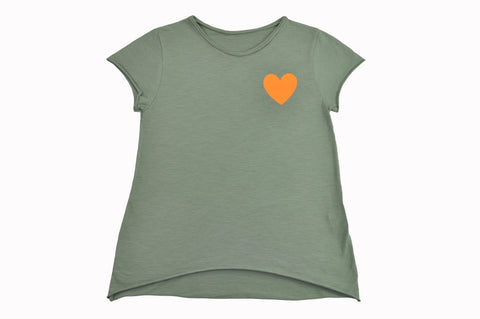 Orange heart T-shirt