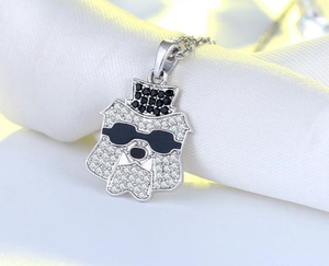 Cool and Sleek 925-Sterling Silver Necklace Bulldog Wearing Glasses Pendant