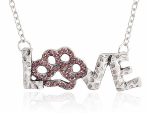 """LOVE"" Pendant necklace Pink Rhinestone PAW. Great Gift for Dog lovers Jewelry"