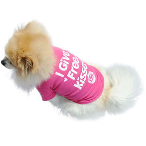 "summer spring dog vest cotton T-shirt puppy doggy shirt ""I Give Free Kisses"" print"
