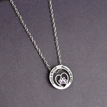 "Load image into Gallery viewer, ""Once by my side""... ""Forever in my heart"" Purple Paw Claw Pendant Necklace Jewelry Special Gift For Dog Lovers"