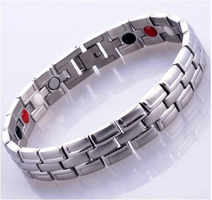 Silver 4 in 1 Bio Men's  Energy Nagetive Ion Germanium Infrared Magnetic Health Bracelet Energy Bangle