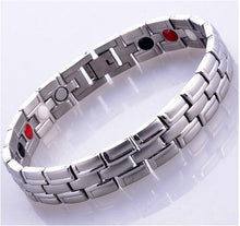 Load image into Gallery viewer, Silver 4 in 1 Bio Men's  Energy Nagetive Ion Germanium Infrared Magnetic Health Bracelet Energy Bangle