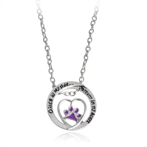 """Once by my side""... ""Forever in my heart"" Purple Paw Claw Pendant Necklace Jewelry Special Gift For Dog Lovers"