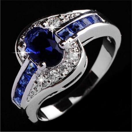 High Quality Fashion Silver with Zircon Crystal  Ring, Sizes 7/8/9 For Women, Great Gift.