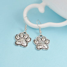 "Load image into Gallery viewer, "" Love My Dog"" Earrings, Paw Print Charm. Great Gift for Dog Lovers Jewelry"