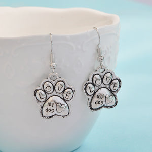 """ Love My Dog"" Earrings, Paw Print Charm. Great Gift for Dog Lovers Jewelry"