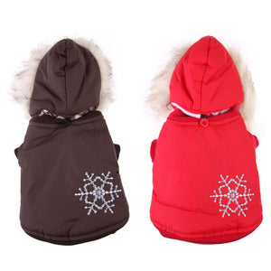 Warm Small Dog Coat Winter Snowflake Hoodie Clothes Apparel