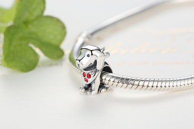 925 Sterling Silver Dog Charms With Red Created Stone for Bracelet Jewelry