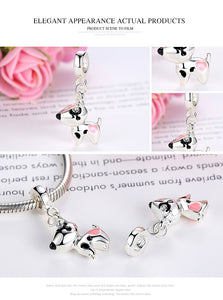Sterling Silver Color Pink Heart Dog Pendant Charm Fit Bracelets Necklaces