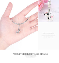 Load image into Gallery viewer, Sterling Silver Color Pink Heart Dog Pendant Charm Fit Bracelets Necklaces
