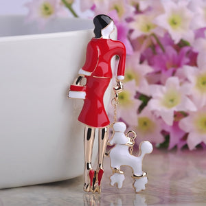Elegant 5 Colors, Enamel  Brooches Gold-color Accessories Women With dog Shape Brooch Pins