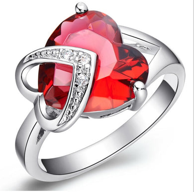 Fashion Silver Red Purple Austrian Crystal Heart Shaped Rings Great Gift