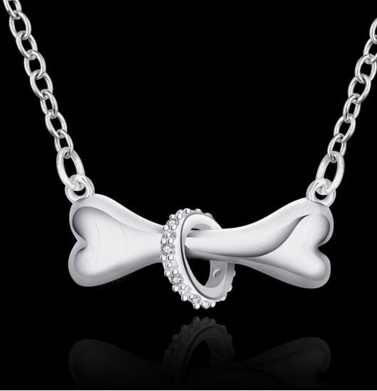 Fashion Silver Dog Bone Necklace Pendant With Chain,  For Women, Great Gift