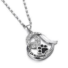 "Load image into Gallery viewer, ""Always in my Heart"" Paw Print Heart Pet Lover Pendant Charm Necklace Keepsake jewelry"