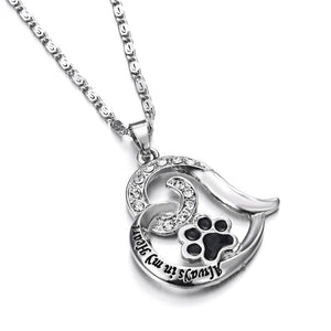 """Always in my Heart"" Paw Print Heart Pet Lover Pendant Charm Necklace Keepsake jewelry"