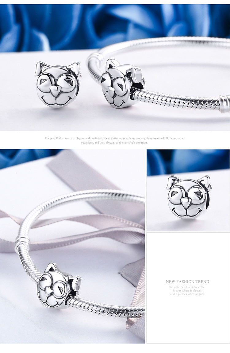 100% 925 Sterling Silver Cute Little Smile  Doggy Animal Face Charm fit Women Charm Bracelet Jewelry