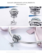 Load image into Gallery viewer, Genuine 925 Sterling Silver Cute Bulldog  Doggy Blue CZ Charms fit Women Bracelets Jewelry